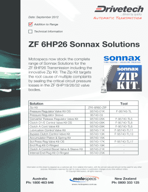 Fillable Online ZF 6HP26 Sonnax Solutions - Motospecs - Home Fax