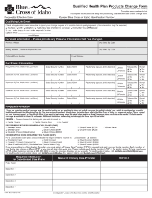 Change Control Procedure In Pharmaceuticals 2016 Qhp Products Form Blue Cross Of Idaho
