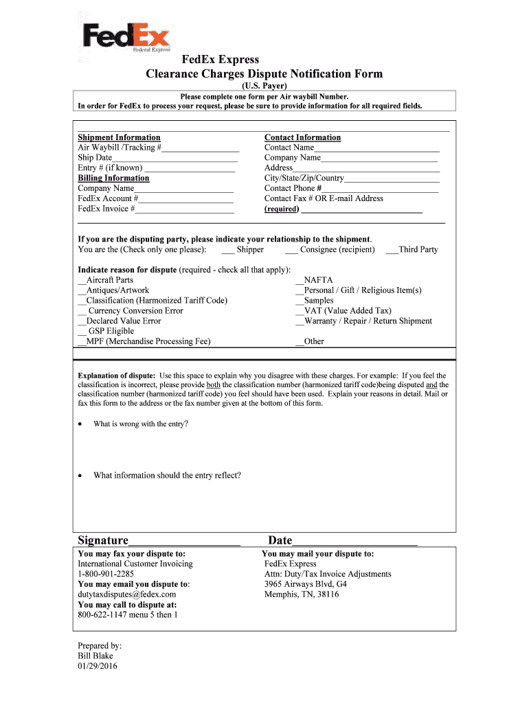 BFedExb Express Clearance Charges Dispute Notification Form - Ernie