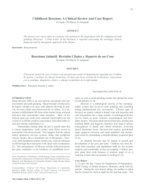 Childhood Bruxism: A Clinical Review and Case Report