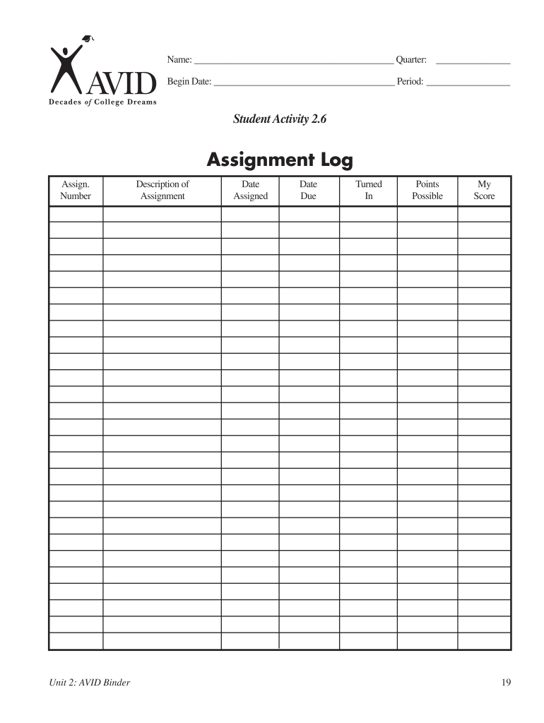 Assignment log for students business plan draft