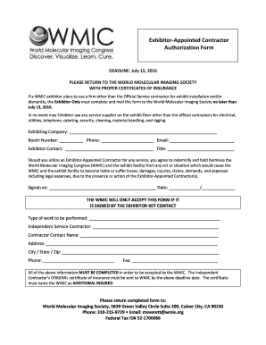 Fillable Online wmis WMIC 2016 EAC Authorization Form - wmis