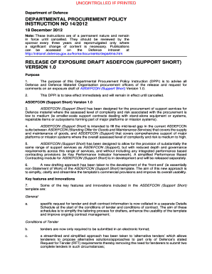 It support contract template pdf editable fillable printable departmental procurement policy instruction 142012 release of exposure draft asdefcon support short version 10 departmental pronofoot35fo Choice Image