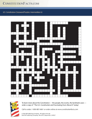 graphic regarding Fill in Crossword Puzzles Printable named Us Consution Crossword Puzzles Intermediate 1 - Fill