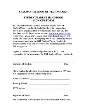 handbook sign off form