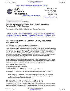 Effective Date: August Procedural Requirements - NASA Fill Online