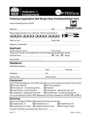 Fillable Online tocal nsw edu Chemical Application Self Study Pack on maintenance form, drug abuse risk assessment form, computer form, marketing form,