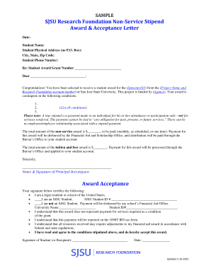SAMPLE OF AWARD LETTER - San Jose State University