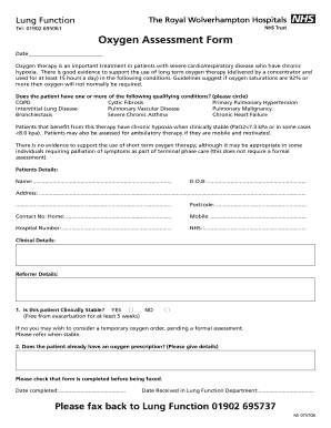 Oxygen Assessment Form - Wolverhampton Formulary - medicines wolvespct nhs