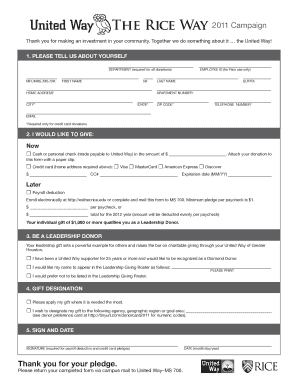 United way the rice way fill online printable fillable for Credit union succession plan template