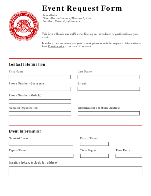Event Request Form - University of Houston - ssl uh