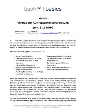 Fillable Online bevh Vertrag zur Auftragsdatenverarbeitung gem 11 ...