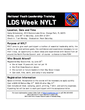 lds youth permission slip. LDS Week NYLT