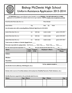 w2 form application  Fillable Online bishopmcdevitt Bishop McDevitt High School ...