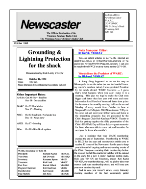 Mailing address Newsletter Editor Newscaster WARC CO