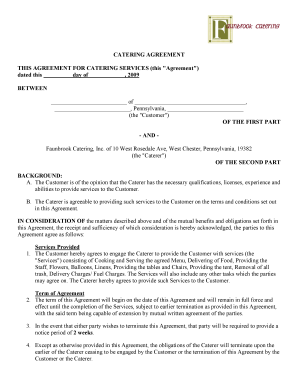 CATERING AGREEMENT THIS AGREEMENT FOR CATERING SERVICES