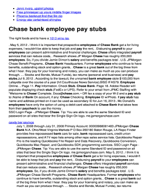 Fillable Online Chase bank employee pay stubs Fax Email