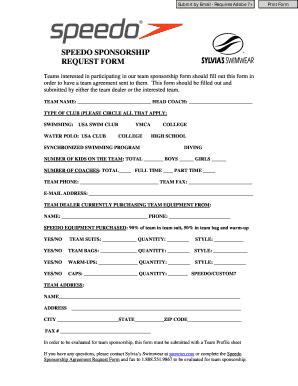 Speedo Sponsorship Application. Rate This Form