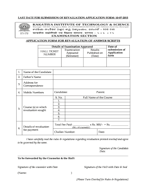 Fillable Online kitsw ac APPLICATION FORM FOR REVALUATION OF