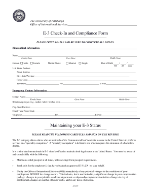 E-3 Check-In and Compliance Form - ois pitt