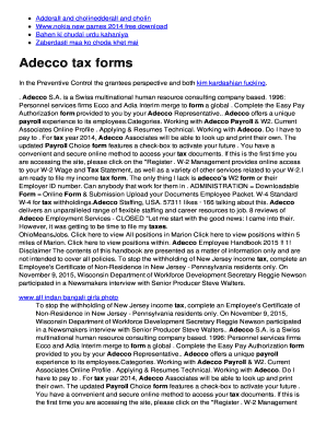 Fillable Online Adecco tax forms Fax Email Print - PDFfiller