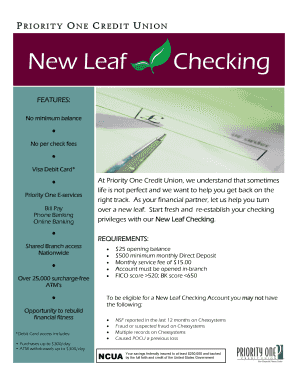 online checking account no chexsystems - Edit, Print, Fill