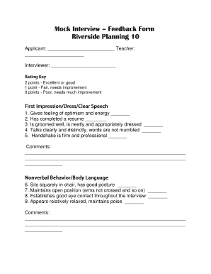 Fillable Online Mock Interview Feedback Form Riverside Planning 10 Fax Email Print
