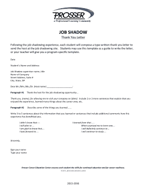 Job shadow thank you letter fill online printable fillable job shadow thank you letter expocarfo Choice Image