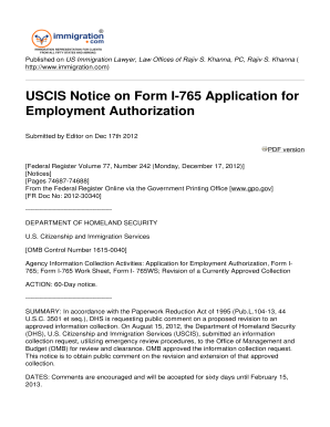 Agency Information Collection Activities Application for Employment Authorization, Form I765 Form I-765 Work Sheet, Form I- 765WS Revision of a Currently Approved Collection