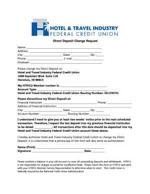 deposit form hotel  Fillable Online Direct Deposit Change Request Form - EPL Inc ...