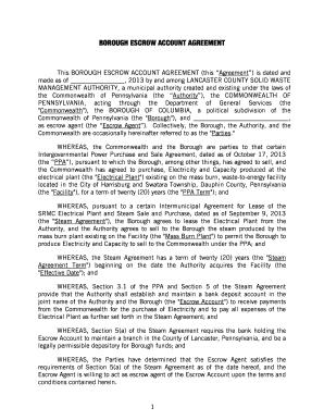 Escrow account agreement editable fillable printable legal borough escrow account agreement 00706128docx 007061281 platinumwayz