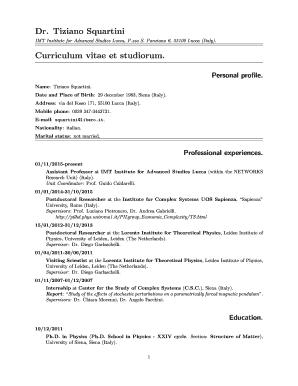 Fillable Online Imtlucca Dr Tiziano Squartini Curriculum Vitae Et