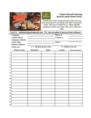 Fillable Online Panera Bread Catering Boxed Lunch Order Form Gold