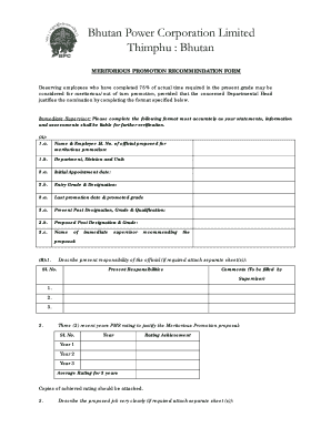 MERITORIOUS PROMOTION RECOMMENDATION FORM