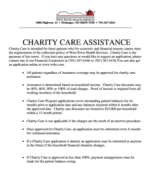 Fillable Online APPLICATION FOR CHARITY CARE ASSISTANCE - wrhscom ...