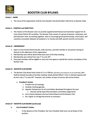 fillable online booster club bylaws cove school fax email print