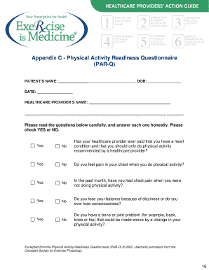 Appendix C - Physical Activity Readiness Questionnaire PAR-Q