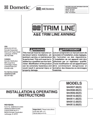 Fillable Online 81804 944 Series Trim Line Awning