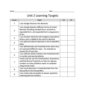 Name Date Unit 2 Learning Targets - blearningforkidsbbcomb