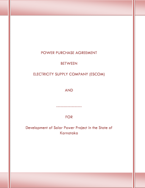 POWER PURCHASE AGREEMENT BETWEEN ELECTRICITY SUPPLY