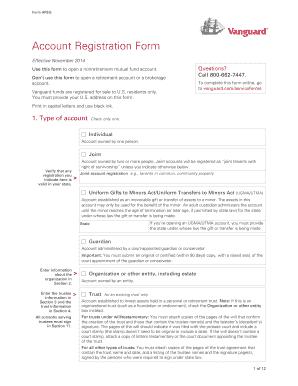 Fillable Online Vanguard Nonretirement Account Registration Form ...