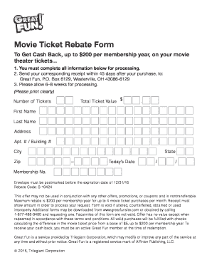Fillable Online Movie Ticket Rebate Form - Great Fun Fax Email ...