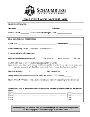 Dual Credit Course Approval Form - bschaumburgchristianbbcomb