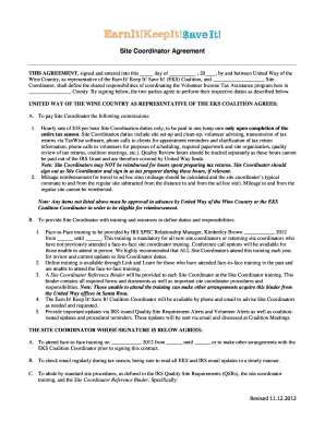 Site Coordinator Agreement - United Way
