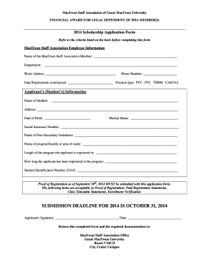 etf scholarship application form 2014