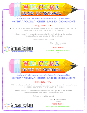Fillable Online GATEWAY ACADEMY'S CENTERS BACK TO SCHOOL