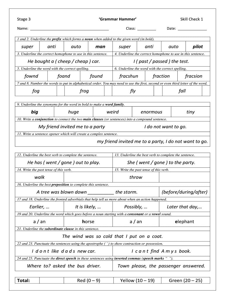 - Grammar Hammer - Fill Online, Printable, Fillable, Blank PDFfiller