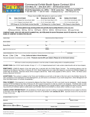 Commercial Exhibit Booth Space Contract 2014 COSTA MESA, CA APRIL 2527,  2014 OC FAIR