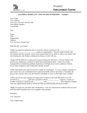 Interview Example Thank you and Follow Up Letters - Student ... - douglascollegesec
