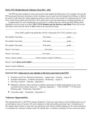 sample pto volunteer form